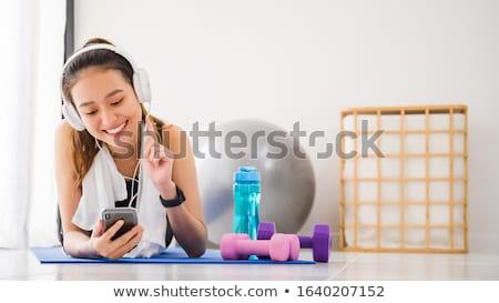 yoga · mujer · fitness · nina · blanco · meditación - foto stock © elwynn