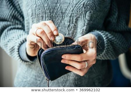 barna · pénztárca · bankjegyek · halom · izolált · fehér - stock fotó © zhekos