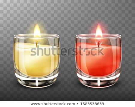 ストックフォト: 赤 · 黄色 · キャンドル · ガラス · 孤立した · 白