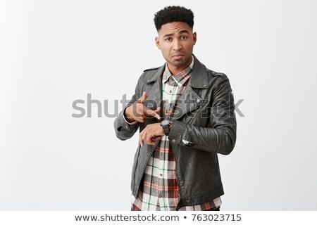 portret · aantrekkelijk · man · baard · naar · rechtstreeks - stockfoto © feedough