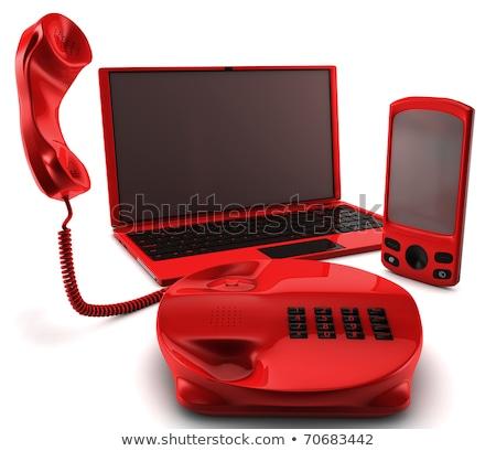 mobil · marketing · gomb · narancs · számítógép · billentyűzet · 3d · render - stock fotó © tashatuvango