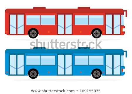 Blue-red city bus. Coach. Vector illustration Stock photo © leonido