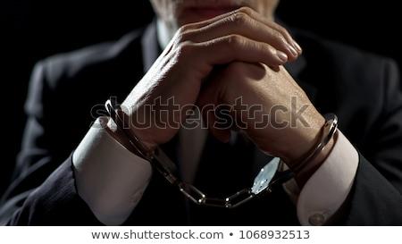 Stock fotó: üzletember · börtön · illusztráció · mutat · mögött · rácsok