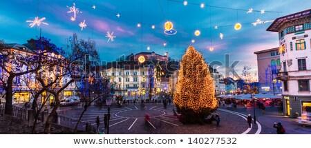 Város központ díszített karácsony romantikus ünnepek Stock fotó © kasto