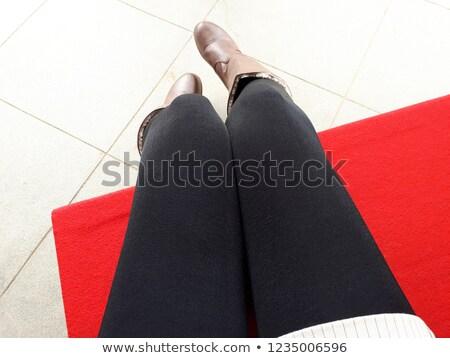 Feminino pernas preto meia-calça branco isolado Foto stock © Nobilior