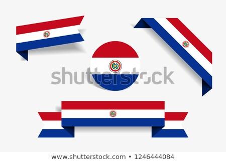 Placu etykiety banderą Paragwaj odizolowany biały Zdjęcia stock © MikhailMishchenko