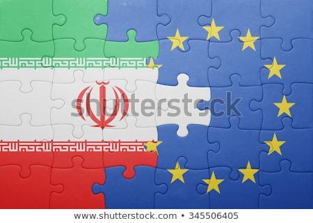 Európai szövetség Irán zászlók puzzle vektor Stock fotó © Istanbul2009