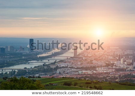 Vienna aerial view in the evening Stock photo © AndreyKr