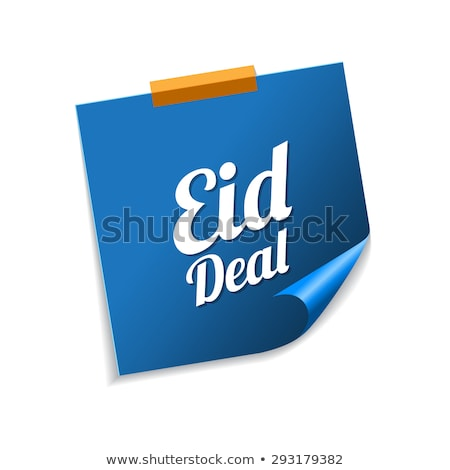 Deal Blauw sticky notes vector icon ontwerp Stockfoto © rizwanali3d