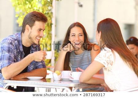 három · gyönyörű · lányok · iszik · kávé · kávézó - stock fotó © nenetus