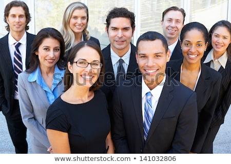 Portré többnemzetiségű üzleti csapat három boldog mosolyog Stock fotó © master1305