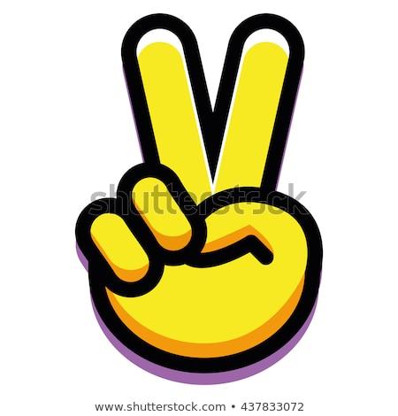 Vrede teken tekst hippie regenboog Stockfoto © x7vector