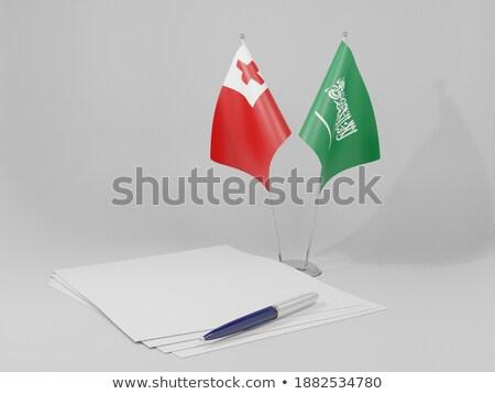 Suudi Arabistan Tonga bayraklar bilmece yalıtılmış beyaz Stok fotoğraf © Istanbul2009