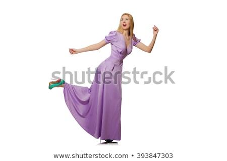довольно девушки фиолетовый долго платье изолированный Сток-фото © Elnur