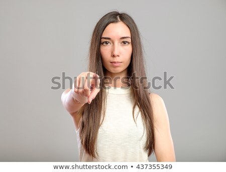 gyönyörű · nő · mutat · mutatóujj · portré · nő · szemüveg - stock fotó © deandrobot