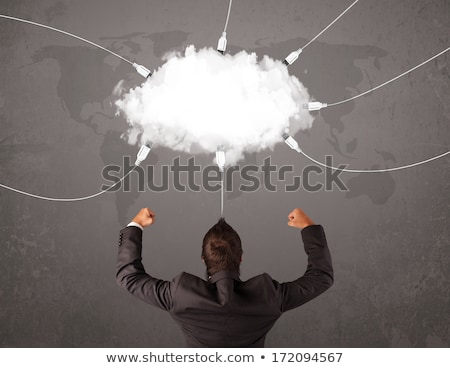 Jeune homme regarder nuage transférer monde Ouvrir la Photo stock © ra2studio