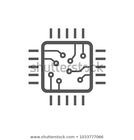 シリコン · マイクロチップ · 先頭 · 表示 · マイクロプロセッサ · ワッフル - ストックフォト © pakete