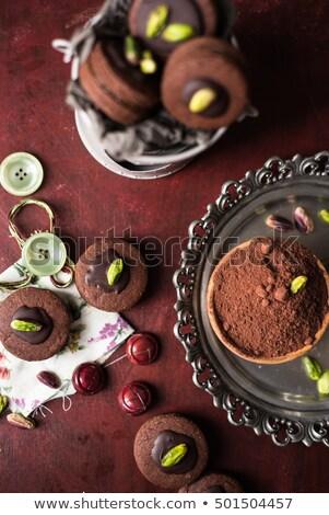 tál · tele · por · fém · tányér · sütik - stock fotó © faustalavagna