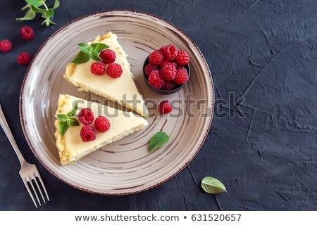 framboos · kwarktaart · witte · vruchten - stockfoto © peteer