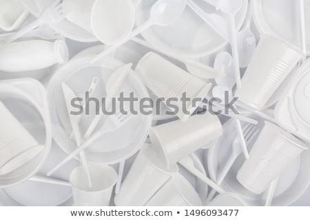 plástico · prato · verde · isolado · branco · cozinha - foto stock © coprid