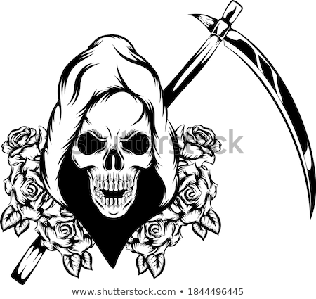 Grim Reaper with scythe isolated. Death in hood on white backgro Stock photo © MaryValery