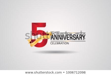5th anniversary celebration badge label in golden color Stock photo © SArts