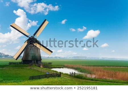 日没 · シルエット · 2 · オランダ語 · 村 · オレンジ - ストックフォト © phbcz