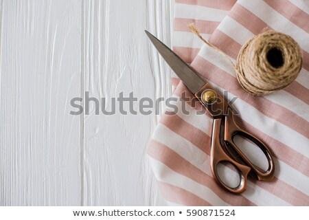 Güzel makas çizgili kumaş makara Stok fotoğraf © manera