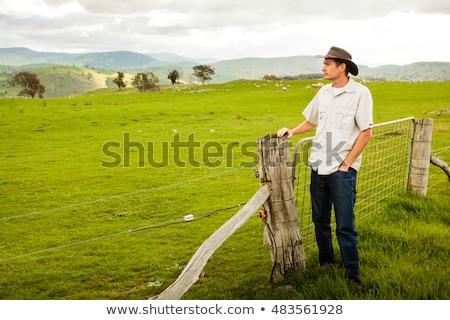Сток-фото: фермер · глядя · фермы · ворот · здании · человека