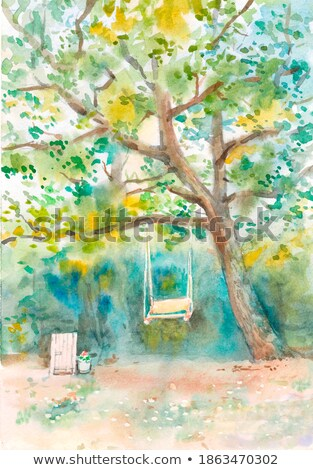 art beautiful landscape with old forest bench and large oak tree Stock photo © Konstanttin