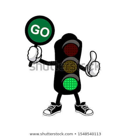stop · rallentare · colorato · segnaletica · stradale · cielo · verde - foto d'archivio © njnightsky