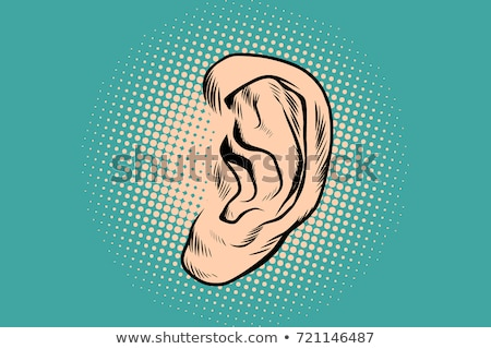 Male human ear Pop art retro Stock photo © studiostoks