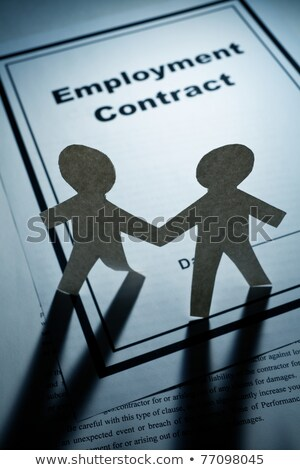 Stock photo: employment contract and paper chain men