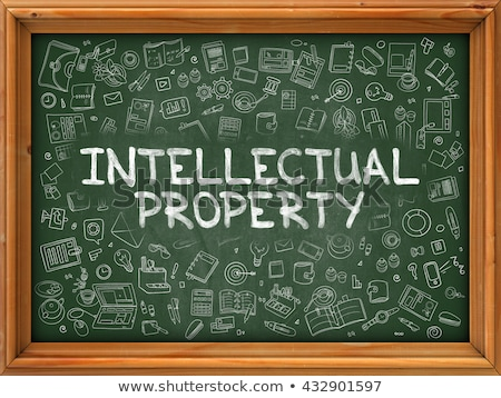 Proprietà intellettuale verde lavagna doodle icone Foto d'archivio © tashatuvango