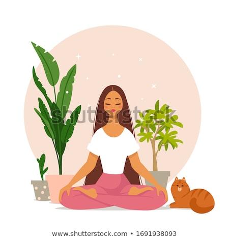 Meisje yoga lotus positie illustratie mediteren Stockfoto © lenm