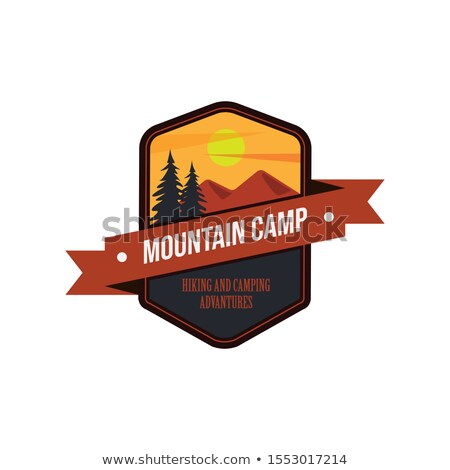 Vintage hand drawn travel badge. Camping label concept. Mountain expedition logo design. Travel badg Stock photo © JeksonGraphics