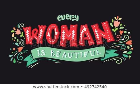Vrouw tekst dag jonge vrouw buitenshuis Stockfoto © nito