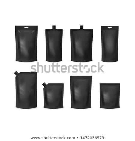 Closed black pouch isolated icon stock photo © studioworkstock
