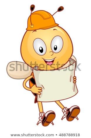 Mascot Bee Hard Hat Plan Stock photo © lenm
