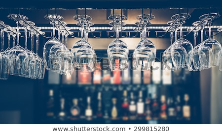 empty glasses on bar counter stock photo © dashapetrenko