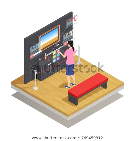 Digital composite of woman with an augmented reality simulator against composite gray pixelated 3d f Stock photo © wavebreak_media