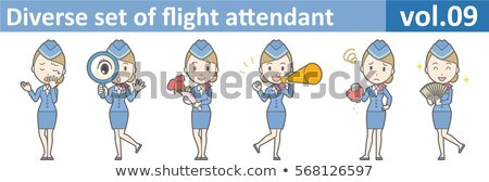 Cabine azul mulher dinheiro conjunto Foto stock © toyotoyo