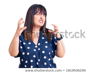 Boos te zwaar vrouw modieus kleding portret Stockfoto © Traimak