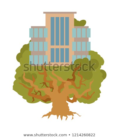 House on tree. Office Buildings on oak. Alligory New residential Stock photo © popaukropa