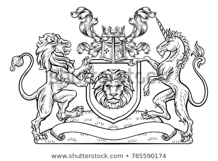 white and black horse and shield heraldic symbol royal horse fo stock photo © maryvalery