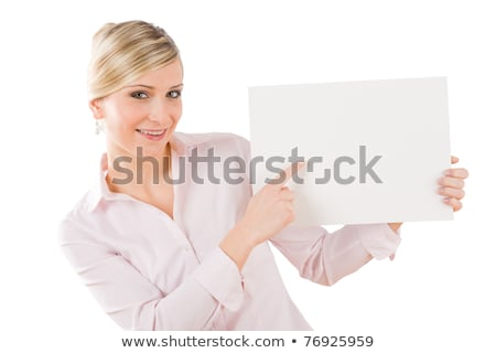 businesswoman pointing aside at white banner stock photo © candyboxphoto
