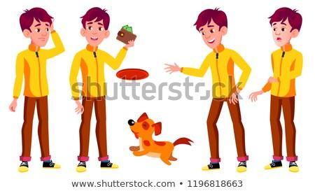 Teen jongen ingesteld vector huisdier hond Stockfoto © pikepicture