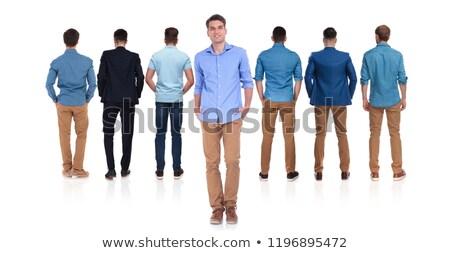 Achteraanzicht zeven mannen toevallig leider Stockfoto © feedough