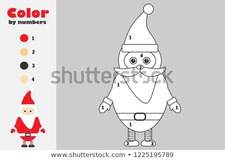 drawing and coloring worksheet with Santa Claus Stock photo © izakowski