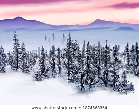 Sunrise in the snowy mountains. Sketch for Christmas and New year greeting card, festive poster or p stock photo © Lady-Luck
